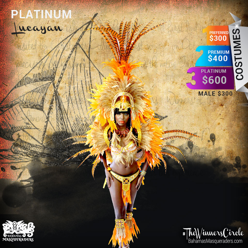 2016 Theme Guanahani Bahamas Masqueraders Bahamas Junkanoo Carnival 2016 Platinum Headpiece with Pheasant Feathers, Tail and Shoulder piece $600