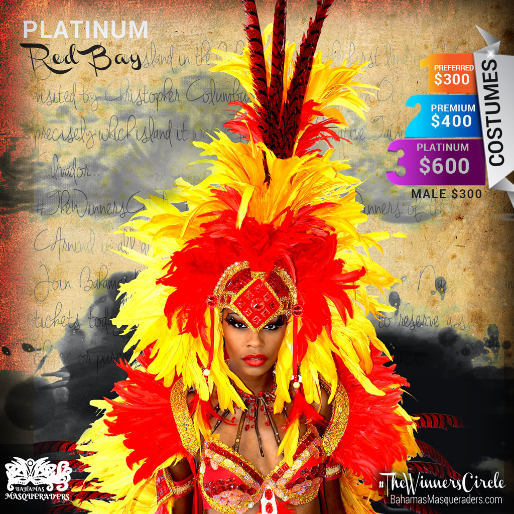 2016 Theme Guanahani -Bahamas Masqueraders Bahamas Junkanoo Carnival 2016 Platinum Headpiece with Pheasant Feathers, Tail and Shoulder piece $600